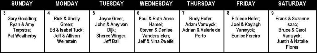 Prayer Calendar Week 7