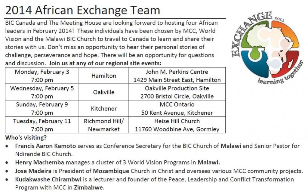 MCC African Exchange Promo