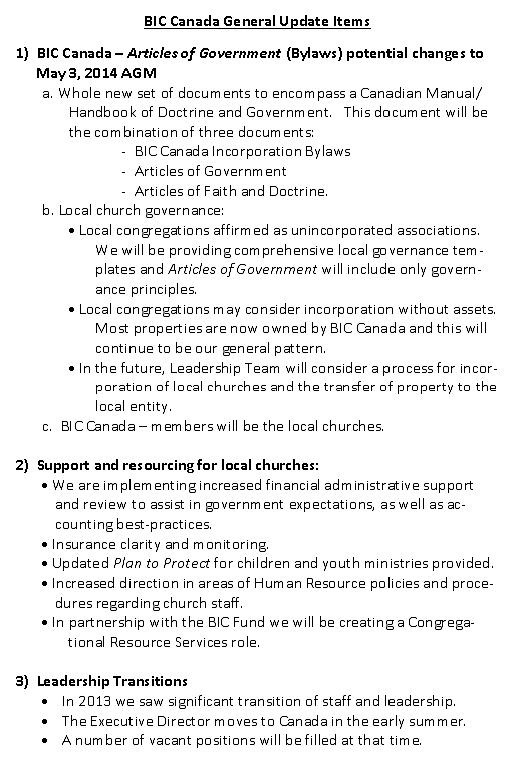 BIC April 6 Agenda