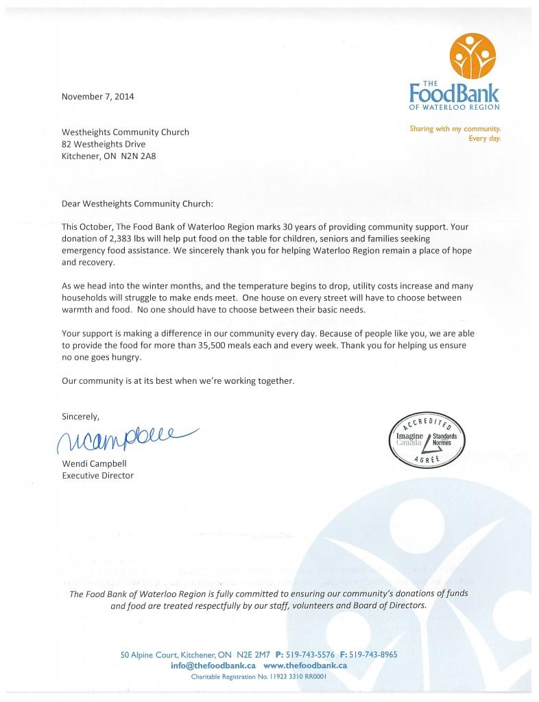 Food Bank Ltr 2014
