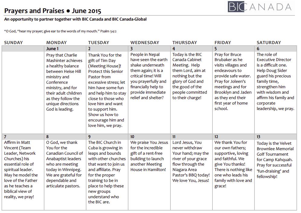 BIC Prayer Calendar June